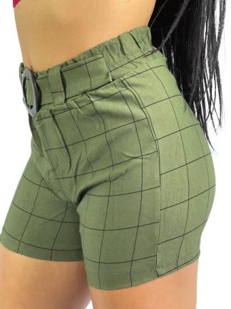Shorts Cintura Alta Clochard Bengaline Xadrez R09