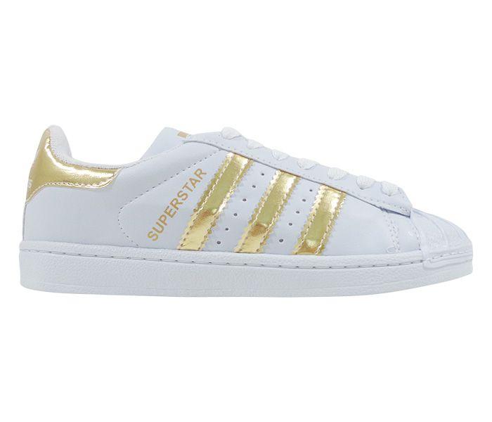 Tênis Adidas Superstar Branco e Ouro