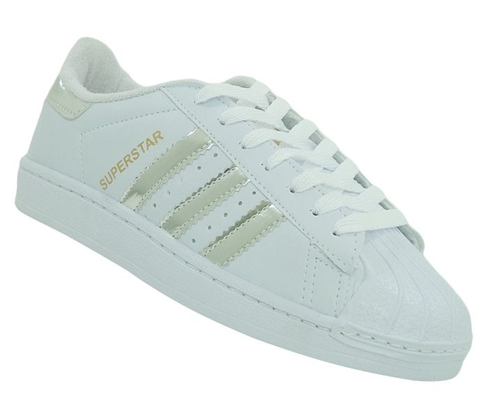 Tênis Adidas Superstar Branco e Prata