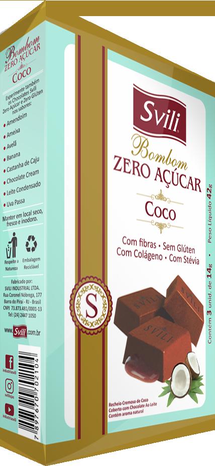 Bombom Coco Zero Açúcar - Pack 3 und
