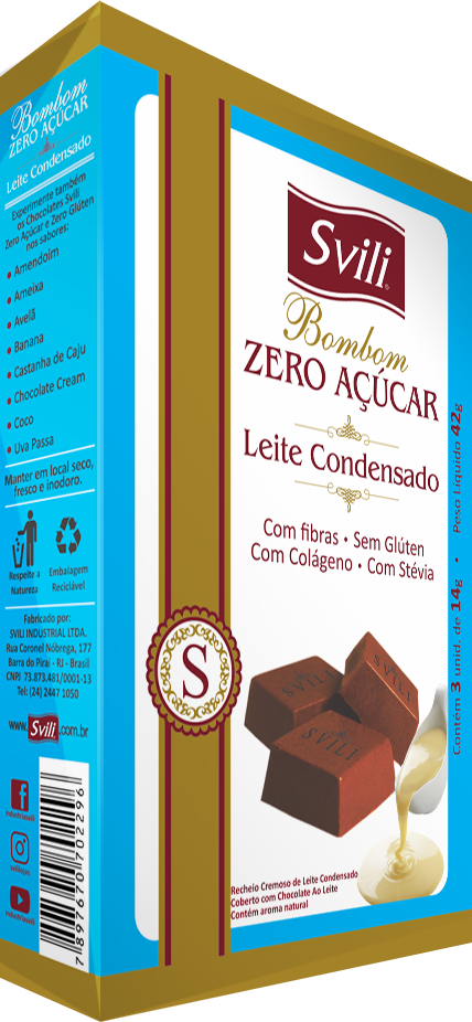 Bombom Leite Condensado Zero Açúcar SVILI