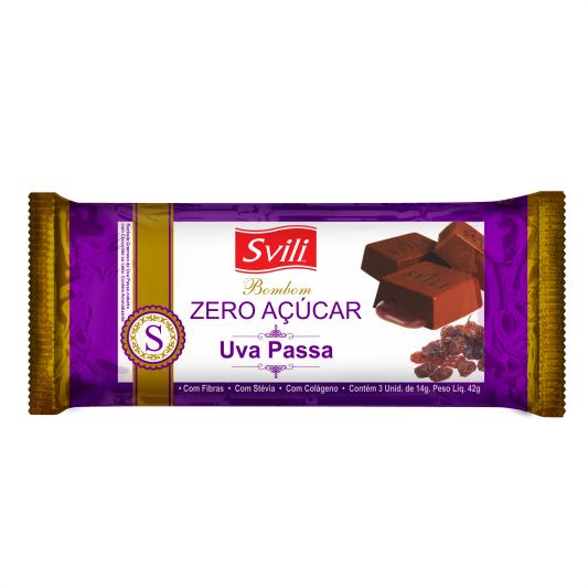 Bombom Uva Passa Zero Açúcar -  Pack com 3 unid