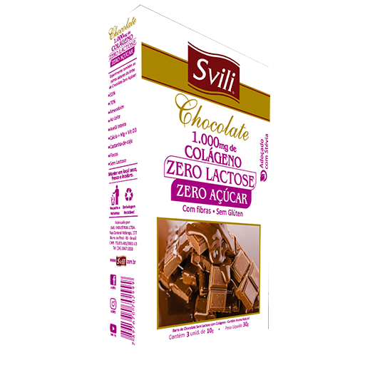 Chocolate 1.000mg Colágeno sem Lactose Zero Açúcar SVILI