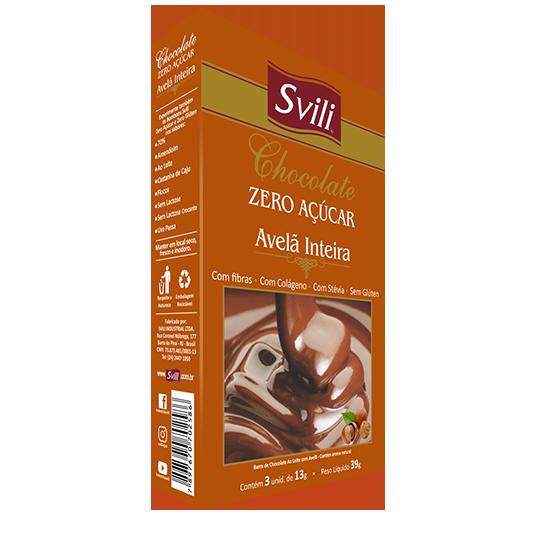 Chocolate com Avelã Inteira Zero Açúcar SVILI