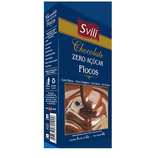 Chocolate com Flocos Zero Açúcar - Pack 3 und