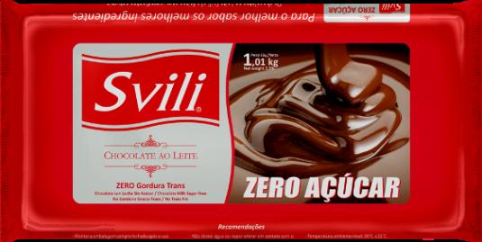 Barra de Chocolate ao Leite Zero Açúcar SVILI