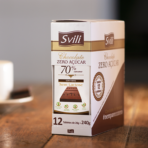 Display Barrinha Chocolate 70% Cacau Zero Açúcar SVILI