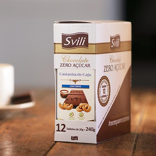 Display Barrinha Chocolate com Castanha de Cajú Zero Açúcar SVILI