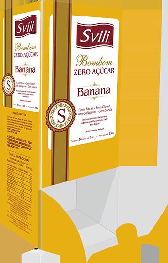 Display Bombom Banana Zero Açúcar SVILI