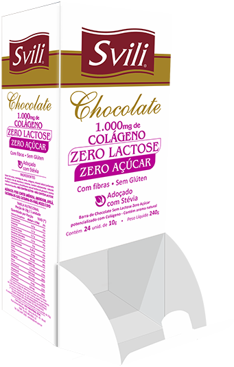 Display Chocolate 1.000mg Colágeno Sem Lactose Zero Açúcar SVILI