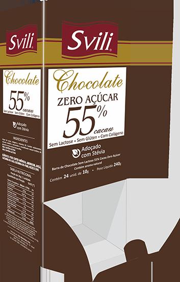 Display Chocolate 55% sem Lactose Zero Açúcar SVILI