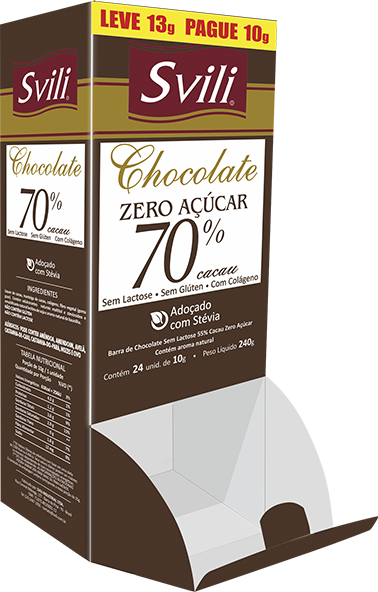 Display Chocolate 70% sem Lactose Zero Açúcar SVILI