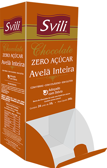 Display Chocolate com Avelã Inteira Zero Açúcar SVILI