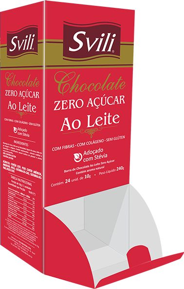 Display Chocolate Ao Leite Zero Açúcar SVILI