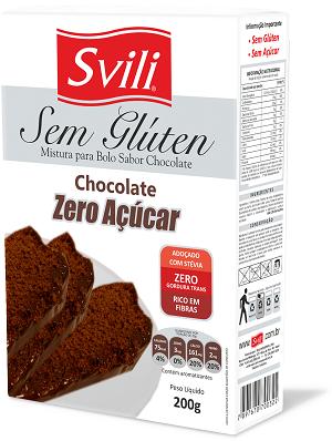 Mistura para Bolo Chocolate Sem Glúten Zero Açúcar SVILI