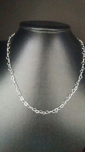 Lindo Colar Feminino 45 Cm Prata 925 Maciça Modelo Coração