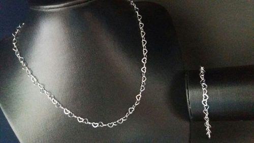 Colar Feminino 45 Cm Prata 925 Modelo Coração + Pulseira