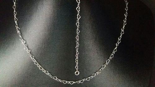 Lindo Colar Feminino 40 Cm Prata 925 Coração Pequeno 2,3 Gr.