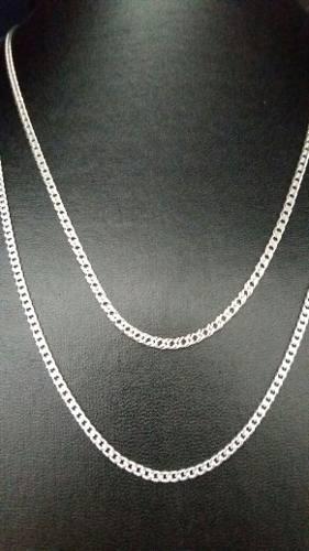 Conjunto 2 Correntes 60 Cm Prata 925 Maciça Grumet Elo Duplo
