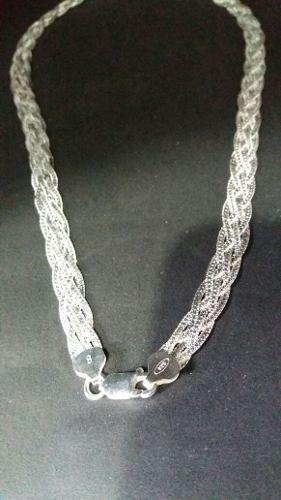 Prata 925, Colar Trançada 5 Fios 40cm