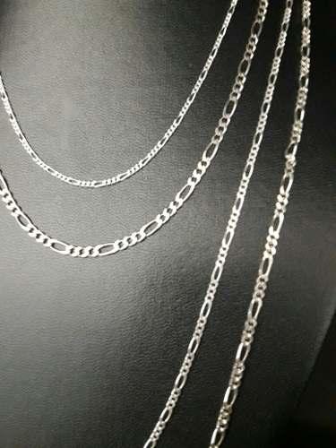 Conjunto 4 Correntes Fina Modelo Elos 3x1 Em Prata 925