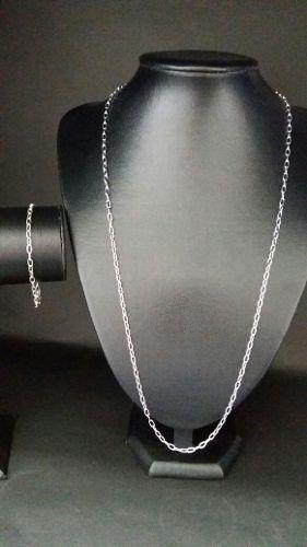 Linda Corrente Masculina Prata 925 70 Cm 3,2 Mm + Pulseira