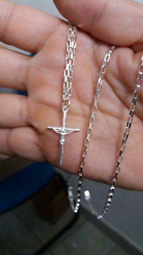 Cordão Corrente Cartier Prata 925 70 Cm 2,2 Mm + Crucifixo