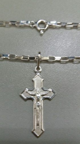 Corrente Cartier Prata 925 70 Cm 2,2 Mm +crucifixo 1,2 Grama