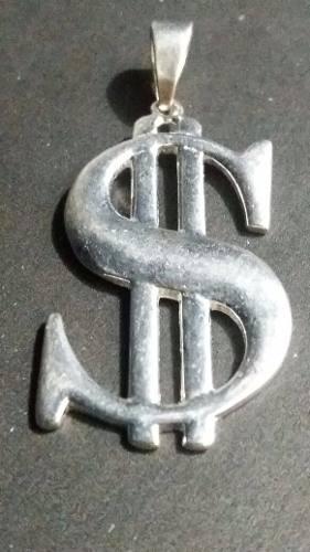 Lindo Pingente Modelo Cifrão Prata 925 Maciça 3,6 x 2,1cm