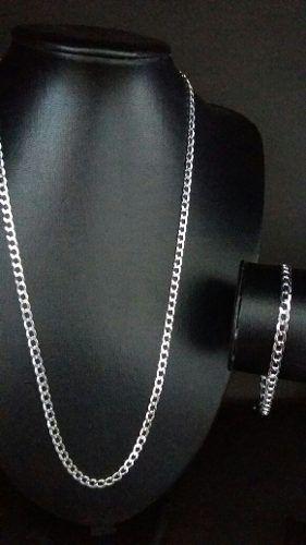 Corrente Grumet 60 Cm 4,4 Mm + Pulseira 4,4 Mm Em Prata 925