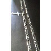 Corrente Prata 925 - 70cm - Elos 3x1 9mm 46 Gr + Pingente