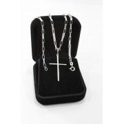 Corrente Cordão De Prata Masculina 925 70cm Fina + Crucifixo