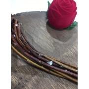 Gargantilha de Nylon 40 cm com Pingente Ponto de Luz Gota