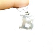 Lindo Pingente Alfabeto Letra B Prata 925 Maciça 1 Grama