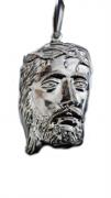 Pingente Em Prata 925 Face Cristo Oco 4,5 Cm 8,9 Gramas