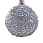 Pingente Prata 925 Modelo Medalha Redondo Pai Nosso