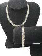 Prata 925, Colar Trançada 5 Fios 40 Cm + Pulseira