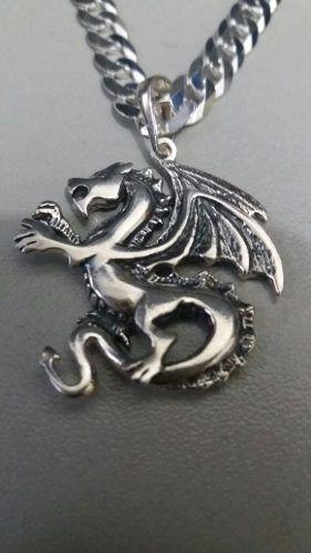Lindo Pingente Prata 925 Modelo Dragão 4,2 Gr. 3 X 2,8 Cm