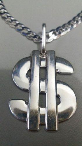 Promoção Pingente Modelo Cifrão Prata 925 Maciça 3,6 X 2,8cm