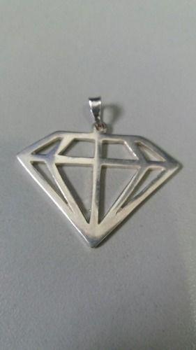 Pingente Prata 925 Maciça Modelo Diamante 3,4 Gramas