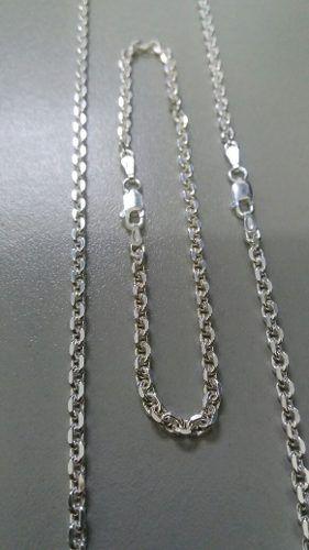 Corrente + Pulseira Prata Maciça 925 Estilo Corrente 26,2 Gr