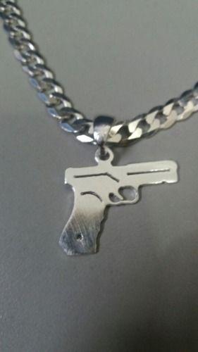 Pingente Em Prata 925 Maciça Modelo Arma 2 Gramas