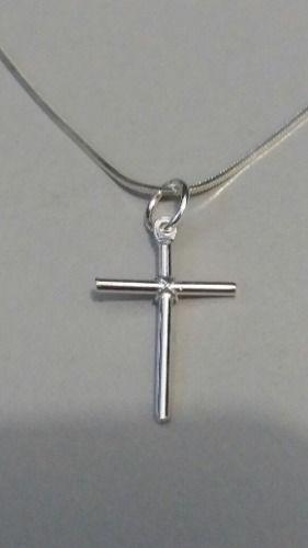 Corrente Prata Maciça 925 Rabo Rato C/ Crucifixo 40 Cm