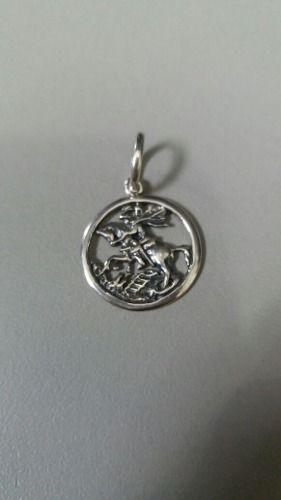 Pingente São Jorge Pequeno Em Prata 925 Maciça 1,6 Gramas