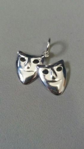 Pingente Em Prata 925 Oco Modelo Duas Máscaras 0,7 Gramas