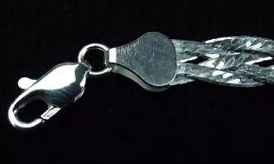Pulseira Feminina - Prata 925 - 4 Fios Trançada - 19cm - 6mm
