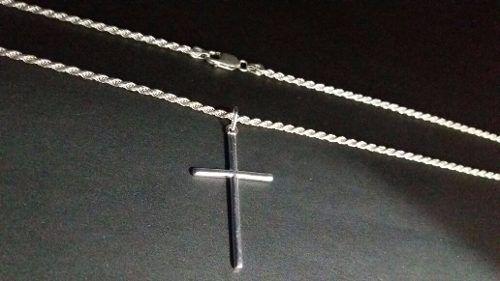 Corrente Cordão Baiano Prata Maciça 925 70cm + Crucifixo