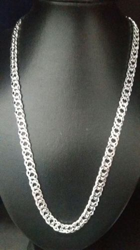Corrente Elo Duplo Grossa Em Prata 925 Maciça 60 Cm 9 Mm 57g