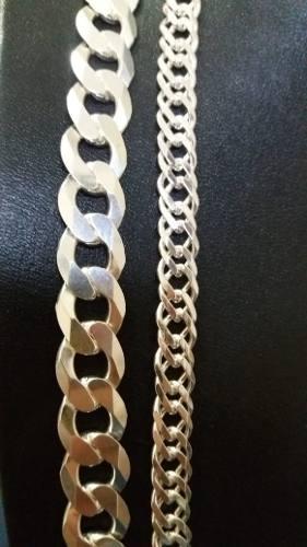 Conjunto Corrente Grumet + Elo Duplo Em Prata 925 Maciça