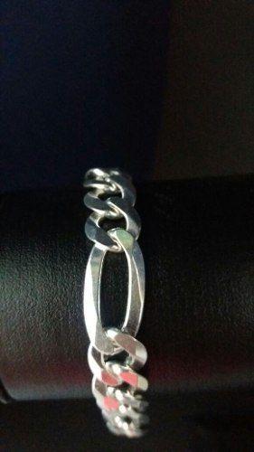 Pulseira Prata 925 Maciça Modelo Elos 3x1 21,5 Cm 8,5 Mm